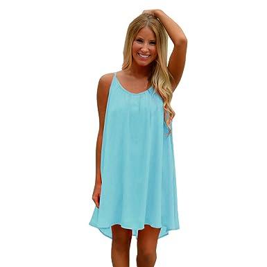 Hpapadks Women Off Shoulder Ruffles Mini Dress Blue