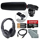 Tascam DR-10SG Camera-Mountable Audio Recorder w/ Shotgun Microphone Bundle with Batteries + 16GB Card + AUX Cable + Stereo Headphones, FiberTique Cleaning cloth