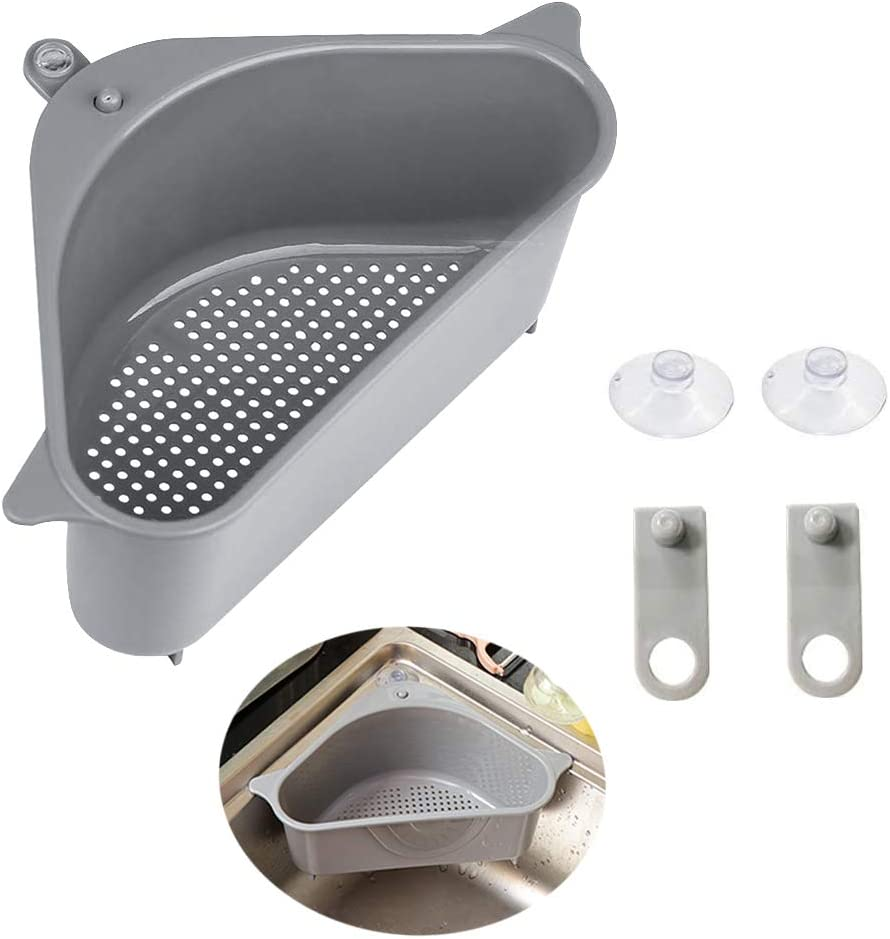 Sink Drains Strainers,Triangular Sink Basket Shelf With Suction Cup Sucker,Corner Hanging,Sink Storage Rack Holder For Kitchen Bathroom Soap Box Organizer (1pc Gray)