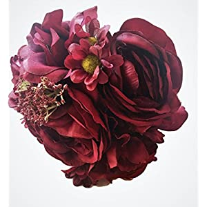 Deep Bordeaux Red Silk Peony,Ranunculus, Rose Small Bouquet, Wine, Bridal, Bridesmaid, Nosegay, Miniature Bride, Gift, Vase, Tabletop, Floral Arrangements, Office, Wedding, DIY, crimson, Rouge, 2