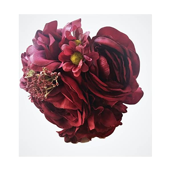 Deep Bordeaux Red Silk Peony,Ranunculus, Rose Small Bouquet, Wine, Bridal, Bridesmaid, Nosegay, Miniature Bride, Gift, Vase, Tabletop, Floral Arrangements, Office, Wedding, DIY, crimson, Rouge,