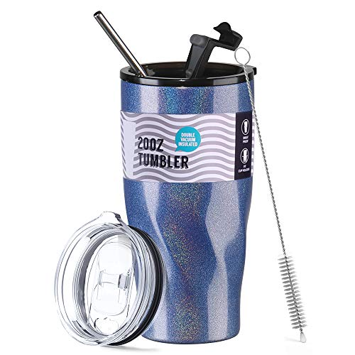 20oz Stainless Steel Insulated Tumbler Cup with Lids & Straw, Sparkle Premium Coated Double Walled Vacuum Insulated Coffee Travel Mug for Home/Office/School, Ice Drink & Hot Beverage, Dishwasher Safe
