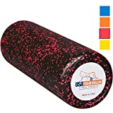 USA Foam Roller, Extra Firm High Density Foam Rollers for Exercise - 18 inch Black & Pink (2.8lbs/ft³ Density) with 3 Year Warranty