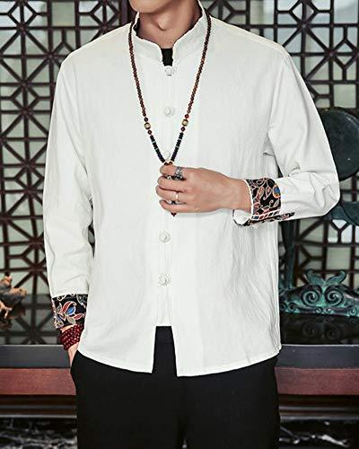 Da Camicia Anyua Cinese A Tinta Bottoni Fit Uomo Stile In Slim Maniche Unita Lunghe Bianco d5ggY