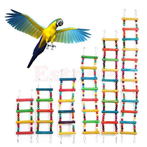 Itemap Pet Bird Swing Wooden Bridge Ladder Climb Parakeets Cockatiels Parakeet Budgie Parrot Toy (5 Steps) (10 steps) by Itemap (Image #1)