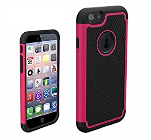 Executive Armor Defender High Impact Combo Hard Soft Gel Case Cover Skin Body for Apple iPhone 6 (Rose Red)