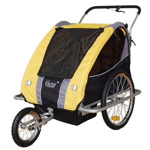 Vector 2-In-1, 2 Seater Baby Stroller Jogger/Bicycle Trailer With Pivot Wheel and Break on Handle (Yellow) 3130802 by Veelar