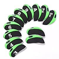SummerHouse 12 Pcs Waterproof Golf Iron Head Covers 3-9 A/S/P/Lw/Lw Oversize Soft Pu fit Taylormade M1 Callaway Titleist AP2 Ping G Cobra PXG 0311/0311T etc Iron Sets Head