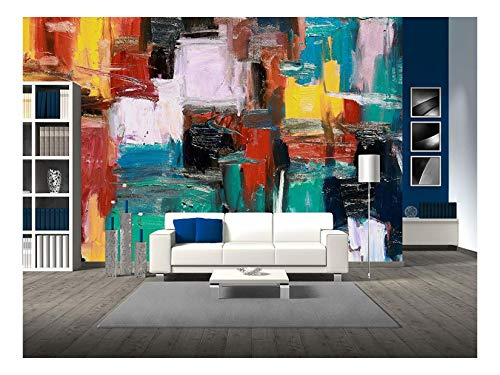 wall26 - Abstract Painting - Removable Wall Mural   Self-Adhesive Large Wallpaper - 100x144 inches