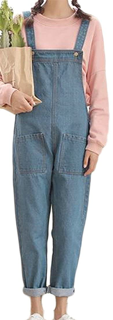 Pivaconis Womens Classic Big Pockets Jumpsuits Romper Denim Pants Overall Light Blue X-Large