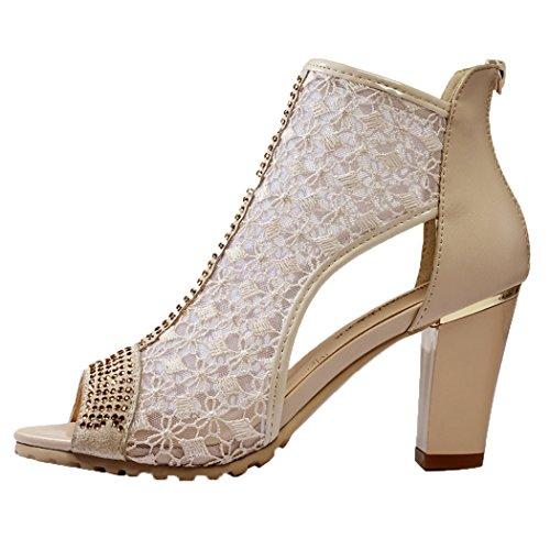 WUXING Women's Thick Mesh Openwork Elegant Fashion Sandals(8.5 B(M)US, beige)