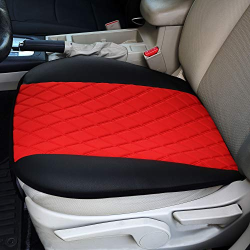 FH Group Red FB210RED102 Faux Leather and NeoSupreme Car Seat Cushion Pad with Front Pocket