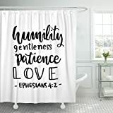Breezat Shower Curtain Religious Humility Gentleness Patience Love Hand Lettered Quote Bible Verse Modern Calligraphy Ephesians Waterproof Polyester Fabric 60 x 72 Inches Set with Hooks