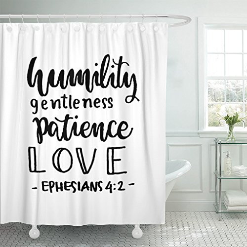 Breezat Shower Curtain Religious Humility Gentleness Patience Love Hand Lettered Quote Bible Verse Modern Calligraphy Ephesians Waterproof Polyester Fabric 60 x 72 Inches Set with Hooks by Breezat