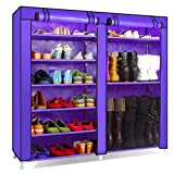 3 draw metal tool box - Leadzm 2 Row of 9 Lattices Portable Shoe Rack Closet,Cabinet,Shelf,Shoe Storage Organizer with Dust & Water-proof Fabric Cover, Purple