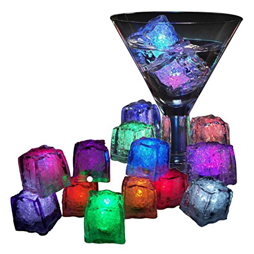 12 Package LED Ice Cubes Colorful Flash Party Ice Light Water Submersible LED Liquid Sensor for Halloween Party Wedding Bar DJ Club Champagne Tower (Halloween Drinks Made With Dry Ice)