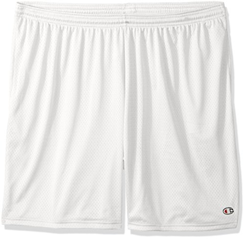 Champion Men's Long Mesh Short with Pockets,White,Medium