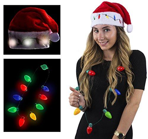 Funny Party Hats Blinking Santa Hats - Christmas Hats - Christmas Light Necklaces -LED Santa Hat For Adults and Kids (Blinking Santa Hat w/Necklace)