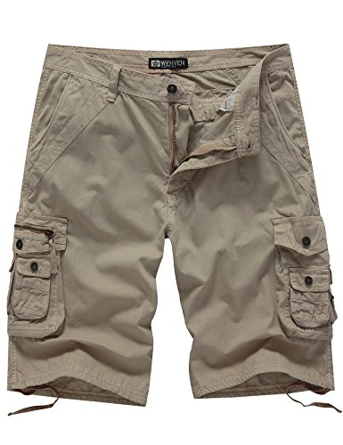 WenVen Men's 12 Inch Loose Fit Multi-Pocket Cargo Short
