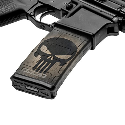 GunSkins AR-15 Mag Skin Camouflage Kit DIY Vinyl Magazine Wrap - Singles (GS Skull Black) (Best Drum Mag For Ar 15)