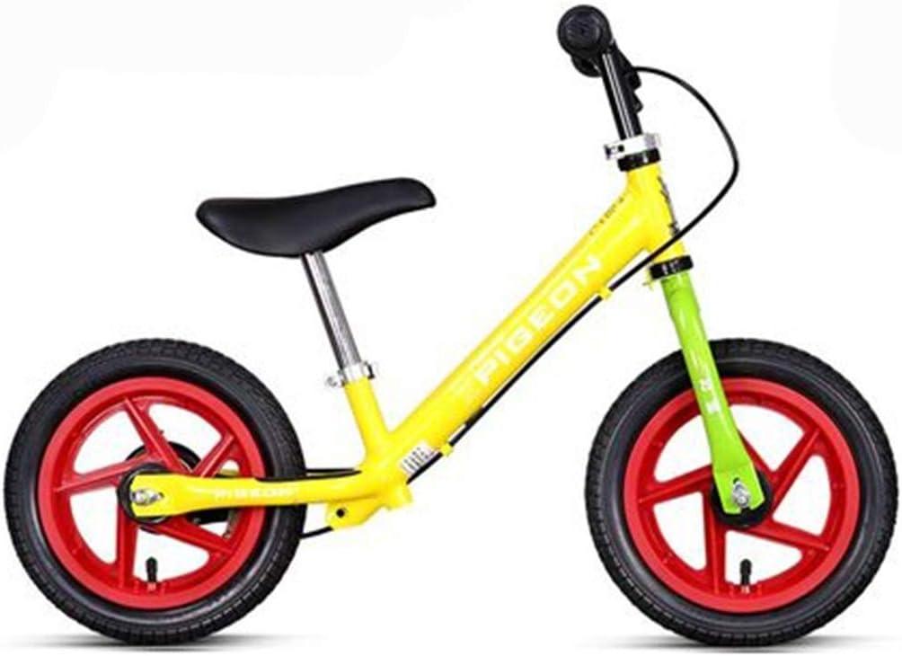Bicicletas sin pedales Sliding Car Lightweight Child Balance Car Bicicleta con Neumático de Goma Inflable for Niños Pequeños Niños de 2-6 Años (Color : Yellow ...