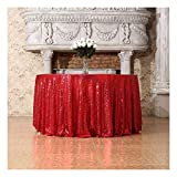 3e Home 72-Inch Round Sequin Tablecloth for Party Cake Dessert Table Exhibition Events, Red