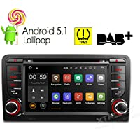 XTRONS 7 Inch Quad Core Android 5.1 Lollipop Car Stereo Radio Capacitive Touch Screen DVD Player GPS 1080P Video Screen Mirroring OBD2 Wifi CANbus Tire Pressure Monitoring for Audi A3 S3