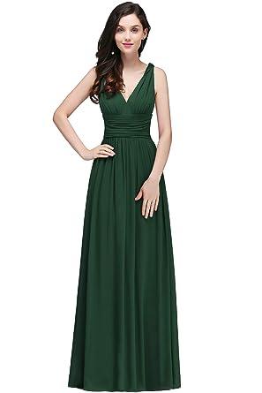 geeignet für Männer/Frauen am besten authentisch zu Füßen bei MisShow® Damen Elegant A-Linie V-Ausschnitt Chiffon Abendkleid Ballkleid  Brautjungfernkleid Maxilang 32-46