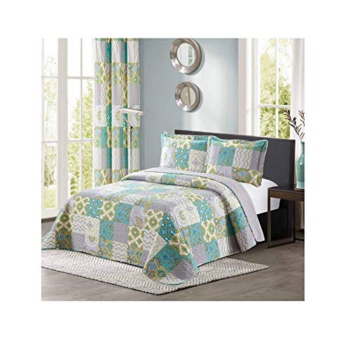 All American Collection New 3pc Printed Modern Geometric Bedspread Coverlet (Over-Sized King/Cal ()