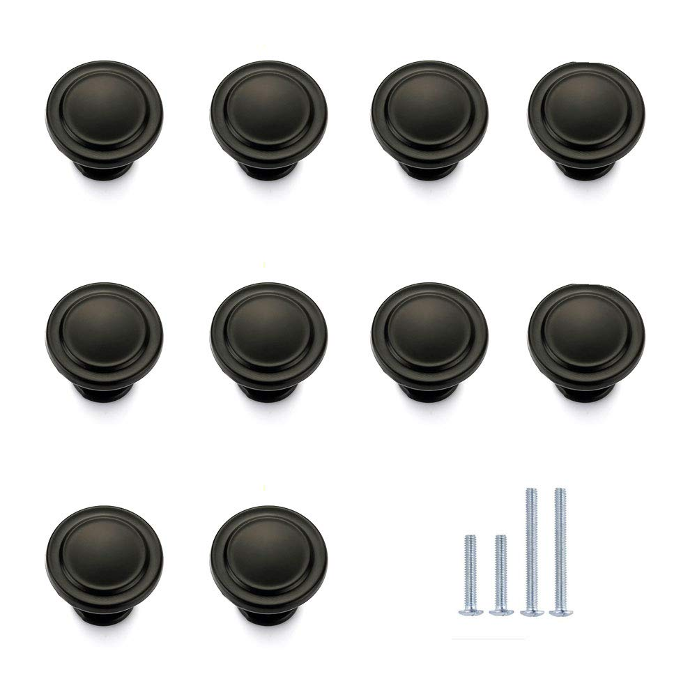 (10-Pack) HiFey 31mm Black Round Cabinet Knobs and Pulls, Furniture Handles and Pulls for Kitchen and Bathroom Cabinets Dresser Cupboards Drawers Shutters,HB90-10