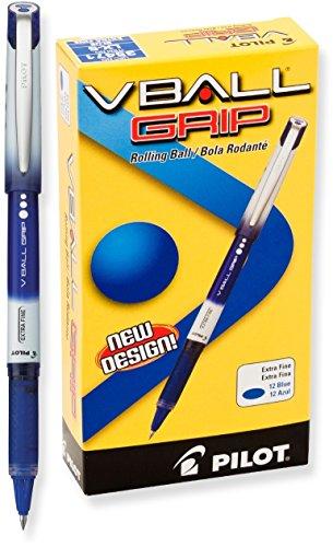 Pilot VBall Grip Liquid Ink Rolling Ball Pens, Extra Fine Point, Blue Ink, Dozen Box (Pilot Vball Grip Liquid Ink)