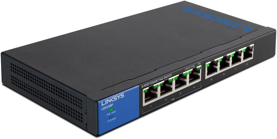 Linksys Business LGS108P 8-Port Desktop Gigabit PoE+ Unmanaged Switch I Metal Enclosure