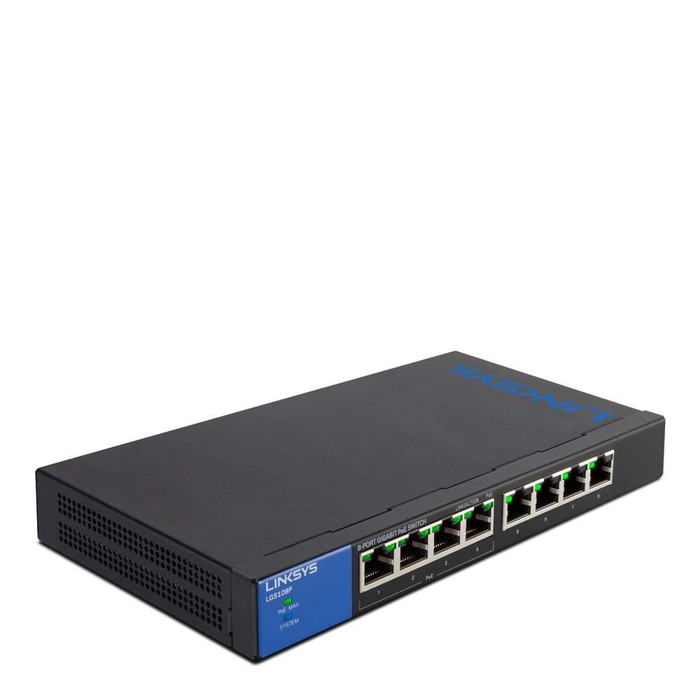 Linksys Business LGS108P 8-Port Desktop Gigabit PoE+ Unmanaged Switch I Metal Enclosure