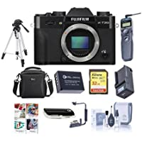 Fujifilm X-T20 24.3MP Mirrorless Digital Camera UHD 4K Video, Panorama, Black - Bundle With Camera Case, 32GB SDHC U3 Card, Spare Battery, Tripod, Remote Shutter Release, Software Package, And More
