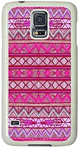 Two Feathers Aztec Tribal Pattern Samsung Galaxy S5 Case with White Skin