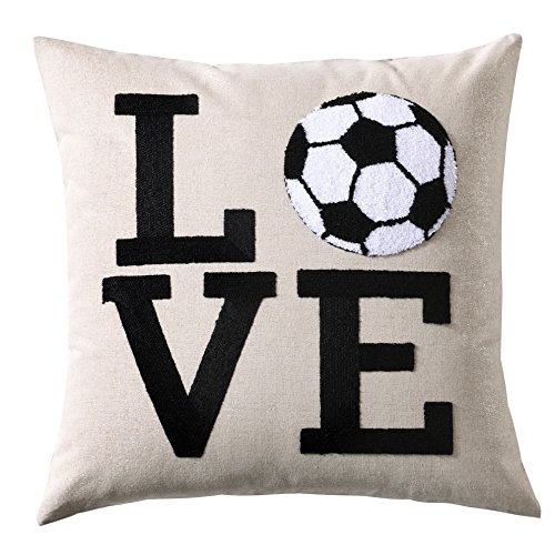 Embroidery Love Sports Series Soccer Football Decorative Throw Pillow Cover Metallic Silver Linen Cushion Cover Boys Girls World Cup Gifts Square 18x18 inch by Cassiel Home