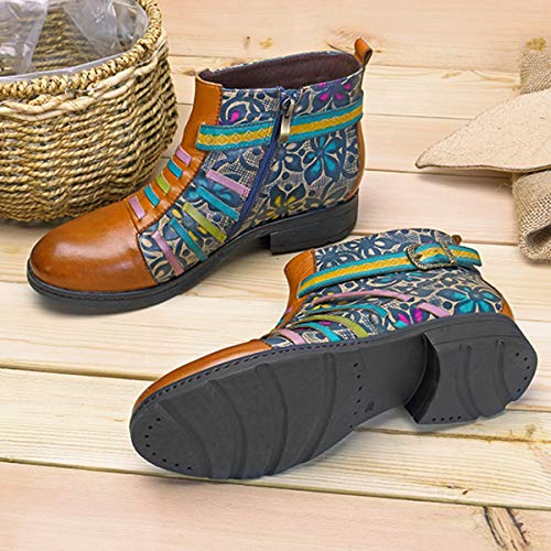 Casual Winter Heel Red Ankle Socofy Ladies Women's Plant Pattern Flat Boots Leather Top Oxford Handmade Retro Shoes High Zip Size Side Brown Vintage Boots xf70qBI7