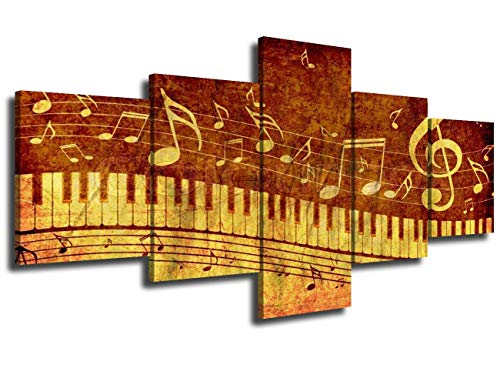 JESC Music Paintings on Canvas Rustic Piano Art Note Piano's Key in The Paper Pictuers 5 Pieces Art Modern Music Artwork Home Decor Living Room,Framed Gallery-Wrapped Ready to Hang ()