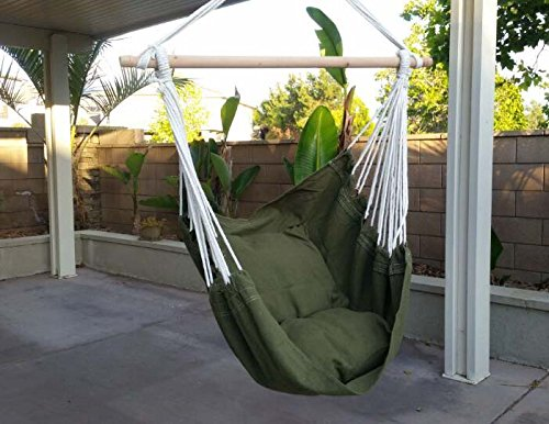 Hammock Chair Hanging Rope Chair Porch Swing Outdoor Chairs Lounge Camp Seat At Patio Lawn Garden Backyard-300lbs Weight Capacity-(Yard Green) -  - patio-furniture, patio, hammocks - 51AmIsgeeRL -