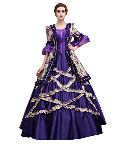Zukzi Women's 3/4 Sleeve Long Purple Prom Dresses Victorian Gown, X7934, Customized by Zukzi
