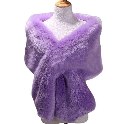 PearlBridal Women's Vintage Faux Fur Shawl Wraps Stole Shrug Cape for Evening Party Winter Lavender ()