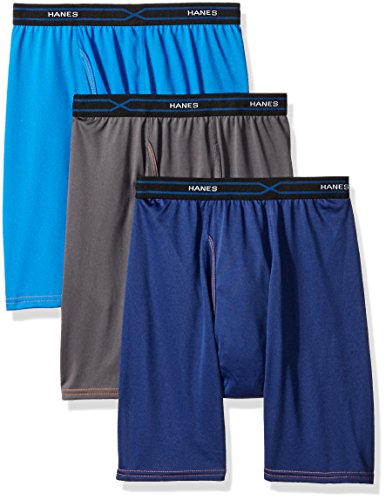 Hanes Red Label Men's 3-Pack FreshIQ X-Temp Performance Cool Long Leg Boxer Brief, Assorted, 2X-Large (Long Boxer)