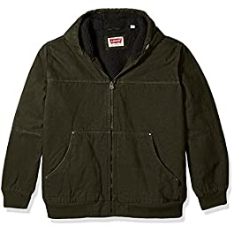 Levi's Men's Size Tall Cotton Canvas Workwear Hoody Bomber with Full Sherpa Lining