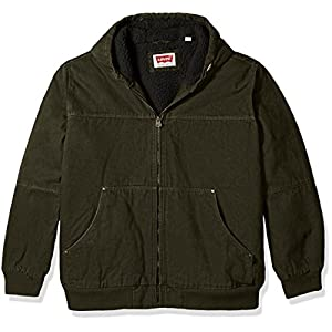 Levi's Men's Cotton Canvas Workwear Hoody Bomber with Sherpa Lining