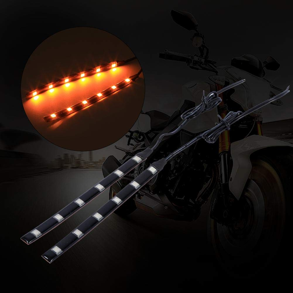 Amber LED Turn Signal Light Strip 2 PCS 6LED 5050 SMD Motorcycle LED Strip Turn Signal Indicator Blinker Light