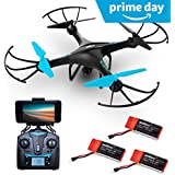 """Force1 Drone with Camera Live Video - """"U45W Blue Jay"""" WiFi FPV Drones with Camera for Adults and Kids + 3 RC Drone Batteries and Camera Drone Power Bank"""