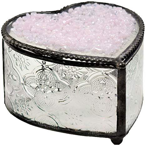 - J Devlin Box 799 Stained Glass Pink Heart Box Decorative Keepsake Jewelry Trinket Box