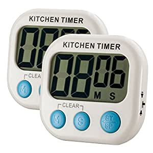 Abyln 2 Pack Digital Kitchen Timer Large LCD Display, Volume Adjustable, Back Strengthen Magnetic, White with Blue Button
