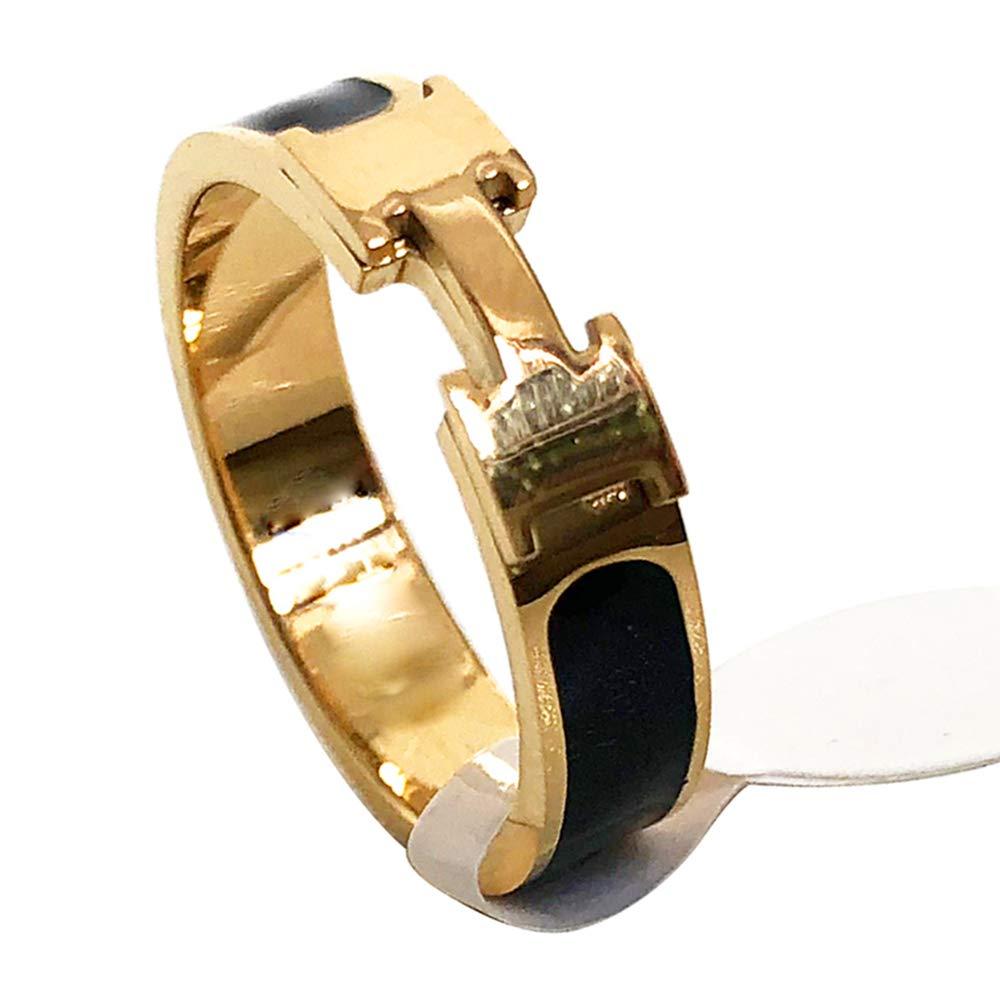 Love Ring - Titanium Fashion Classic Color Blocking H Ring (size: 5-10) (Gold/Black, 7)
