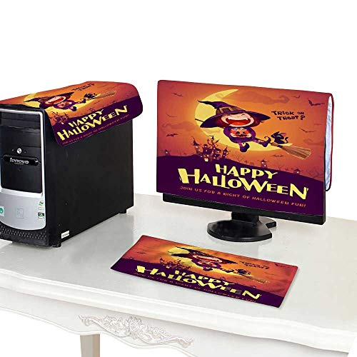 Monitor + Keyboard + CPUHappy Halloween Halloween Little Witch Girl Kid in Halloween Costume Sits on The Moon Retro Vintage 32